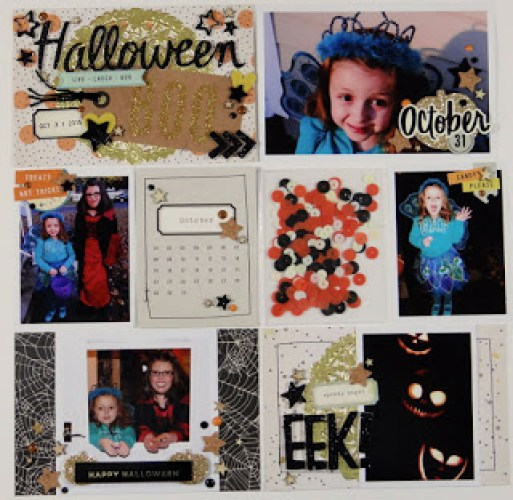 @spiegelmomscraps @jodyspiegelhoff @sarahmcclellan @cratepaperinc @AmericanCrafts, #spiegelmomscraps #scrapbook #DIY #ProjectLife #cratepaperinc #americancrafts #halloween #afterdark #sequins #gold #doily #shakerpocket #thickers #stickers #corkstars #midnightfeltstars