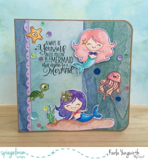 @spiegelmomscraps @jodyspiegelhoff @prettycutestamps @kaisercraft @janedavenport @americancrafts #sequins #mermaids #coloredpencils #underthesea #digitalstamp #greetingcard #gifttag #giftset #borderpunch