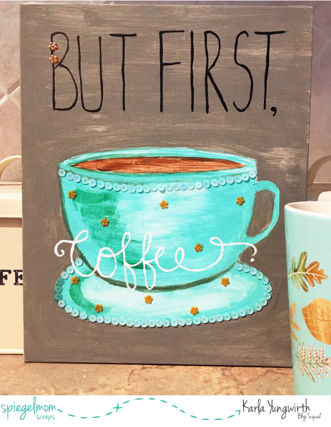 @jodyspiegelhoff @spiegelmomscraps @michaels #makeitwithmichaels #sequins #smssequins #mixedmedia #coffee #canvas #painting #butfirstcoffee