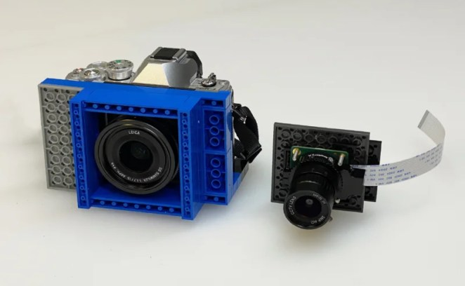 A Lego mounting system enables the HQ Camera (and an Olympus one) to be switched easily between prototypes