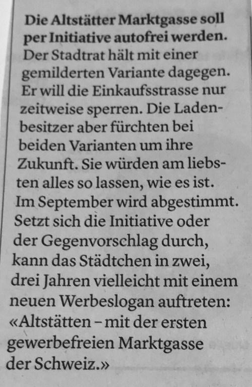 """Bericht in der """"Ostschweiz am Sonntag"""