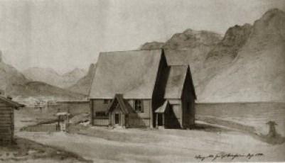 Før kirken ble demontert tegnet Franz Wilhelm Schiertz dette bildet av den.