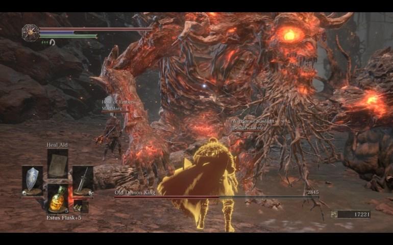Her hjelper jeg en annen spiller med å knekke en av bossene i spillet.