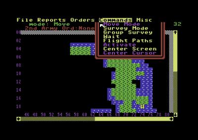 Grensesnittet til Commodore 64-versjonen.