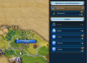 De innledende produksjons-valgene du står ovenfor. En nybygger kan ikke bygges før byen har minst to innbyggere.