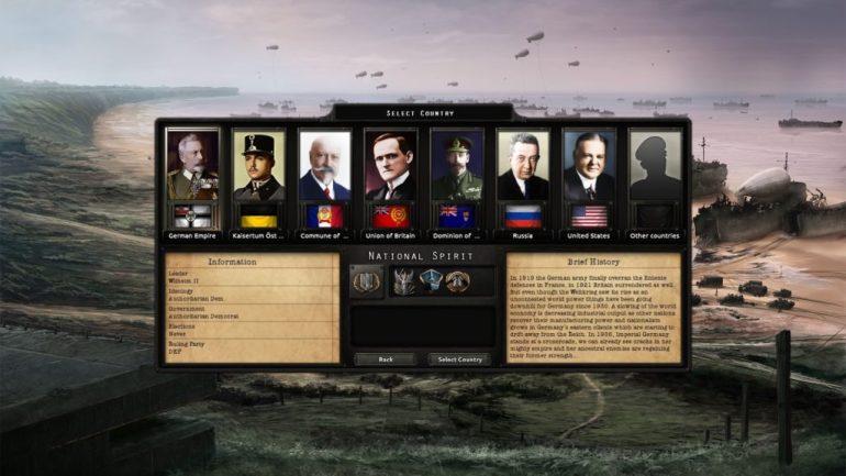 Valgskjermen som møter deg ved oppstart av spillet. Alle land i verden kan velges, men disse er de du først presenteres for.