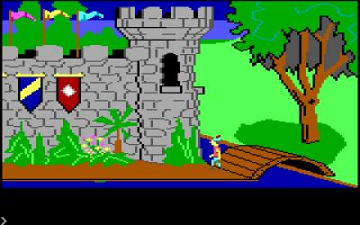 King's Quest på PCjr. Nesten identisk med den mer kjente PC-versjonen, men krokodillene i denne scenen er for eksempel litt annerledes. Ikke at det er så lett å se, da.