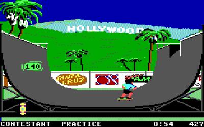 Half-Pipe på PC (EGA). Galleriet under er hentet fra Commodore 64.