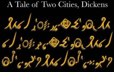 Begynnelsen av en klassisk Charles Dickens-roman, skrevet på «ancient».