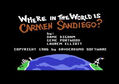 Tittelskjermen på Commodore 64 har hovedutviklernes navn. Men denne utgaven ble programmert av Scott Schumway.