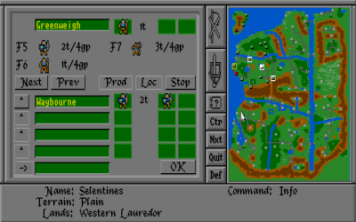 Spillets grensesnitt for produksjon og flytting av ferdige enheter.