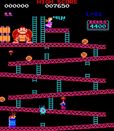 Det første, ikoniske Donkey Kong-brettet.