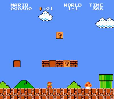 Et ikonisk skjermbilde. Legg merke til hvordan spillet sparer plass ved å gjenta grafikk – samme grunnform brukes i begge skyene og den lysegrønne busken.