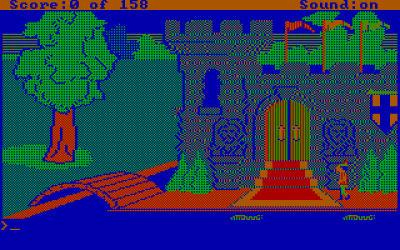 King's Quest slik det ville tatt seg ut på en standard CGA-PC i 1985.