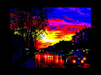På tross av begrensningene kan ZX Spectrum produsere ganske slående grafikk. Dette bildet heter Highlights at Sunset, og er laget av Diver.