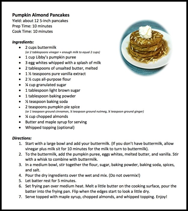 Pumpkin Almond Pancakes recipe