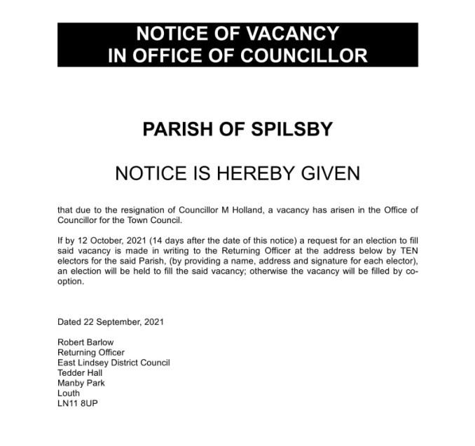 Election Notice Spilsby September 2021