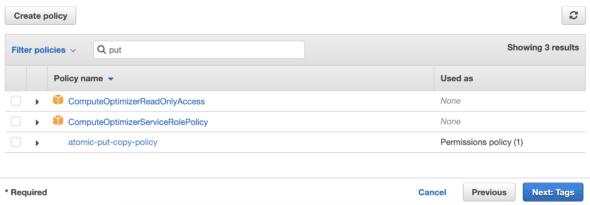 Policy table screenshot