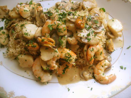 Shrimp in Cream Mushroom Sauce