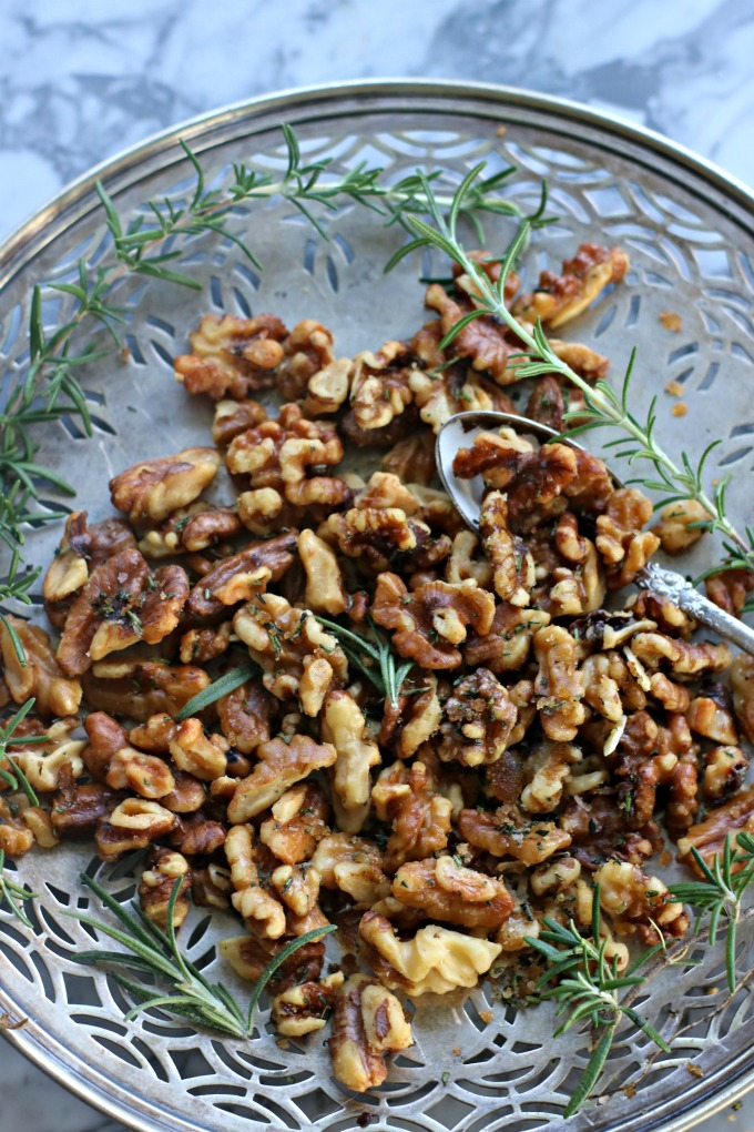 Rosemary Roasted Walnuts from spinachtiger