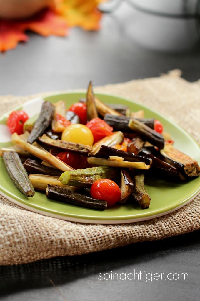 Roasted Okra, Eggplant