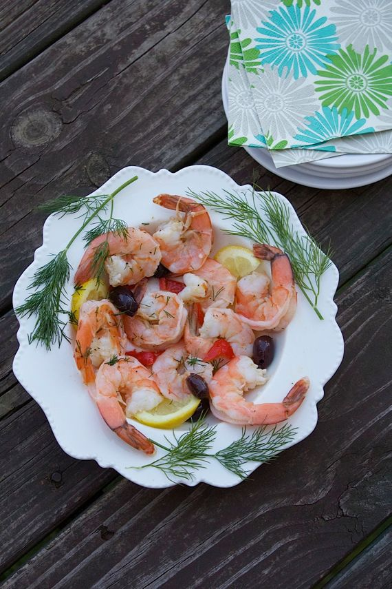 Poached Lemon Dill Shrimp