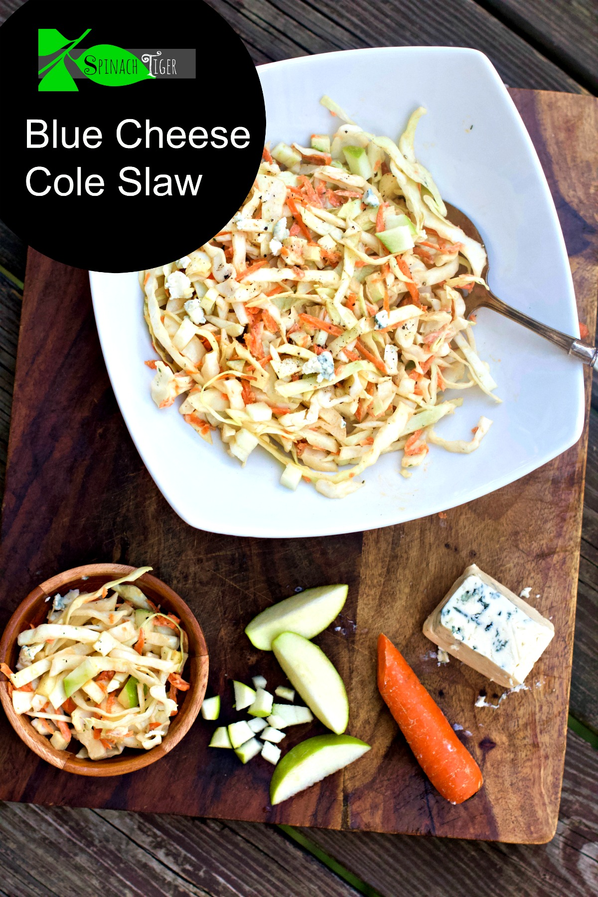 Blue Cheese Cole Slaw with Seven Tips for Making Cole Slaw. Perfect for any meat or fish dish. #coleslaw #bluecheese #spinachtiger via @angelaroberts