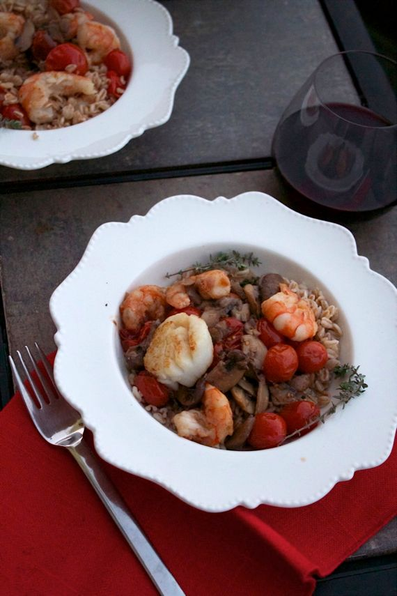 Big Fat Healthy Shrimp Recipes with Barley and Mushrooms from Spinach Tiger