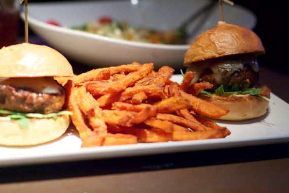 Root Down in Denver Lamb Burger with Sweet Potato Fries