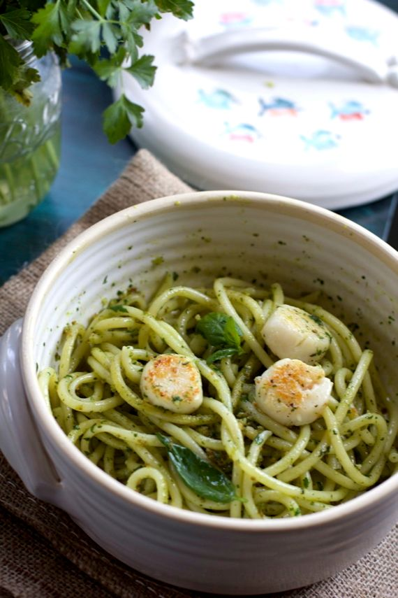 Anchovy Basil Pesto Pasta by Angela Roberts