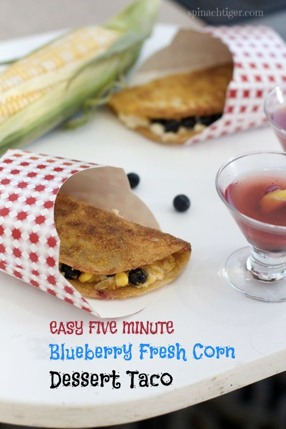 Blueberry Dessert Taco with Cream Cheese, Corn, and Cereal Fried by Angela Roberts