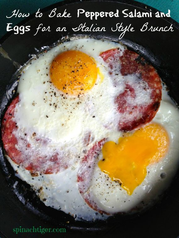 Peppered Salami, Oven Baked Eggs by Angela Roberts