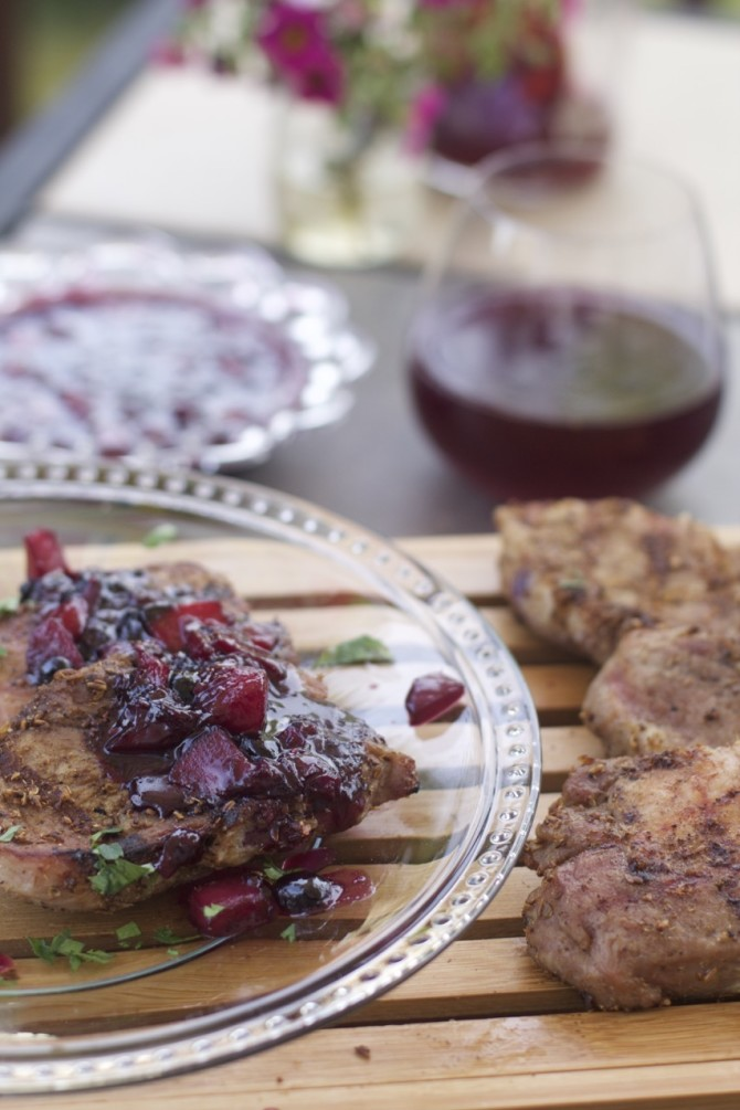 Grilled Rib Eye Pork Chops with Fennel Coriander Rub and Blueberry Peach Compote by Angela Roberts