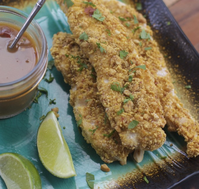 Chicken Tenders with Honey Lime Peanut Dipping Sauce, Gluten Free