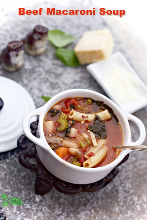 Beef and Bean Macaroni Soup from Spinach Tiger