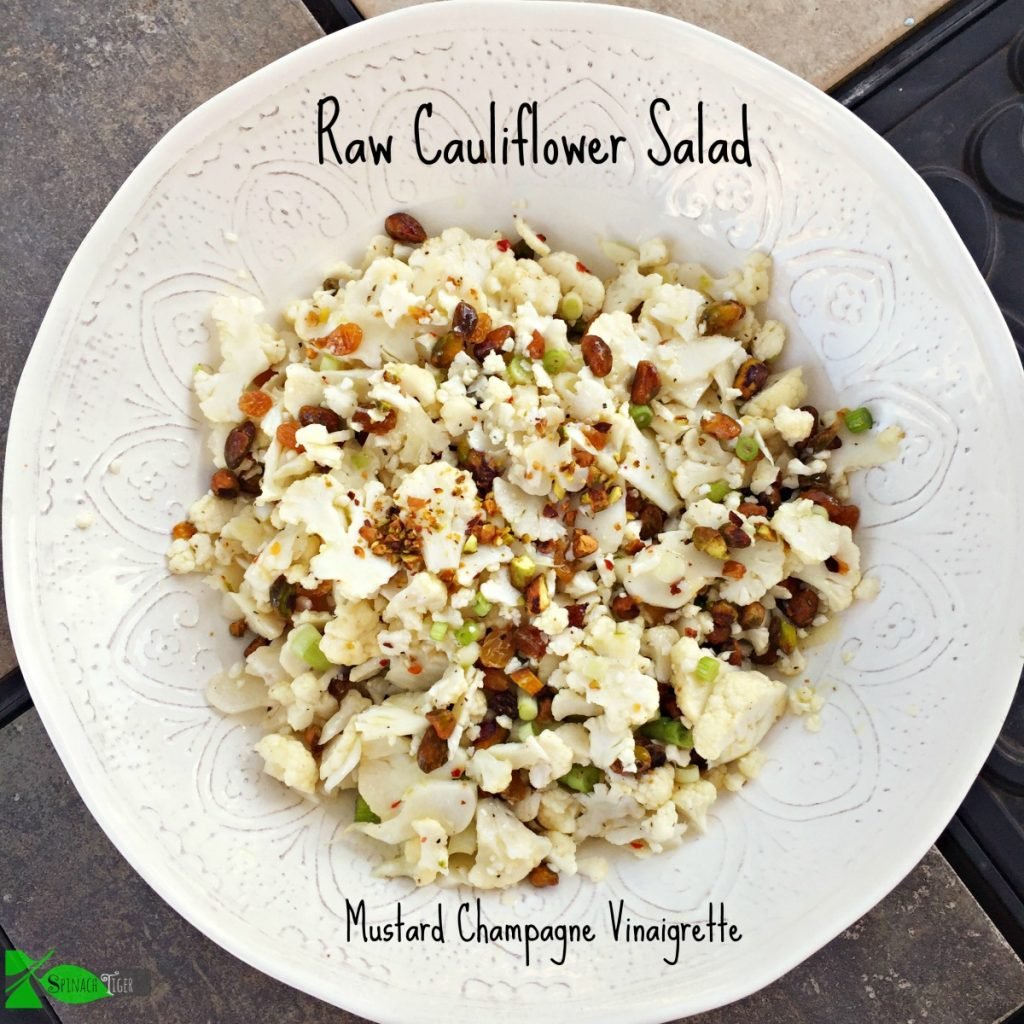 Raw Shaved Cauliflower Salad from Spinach Tiger