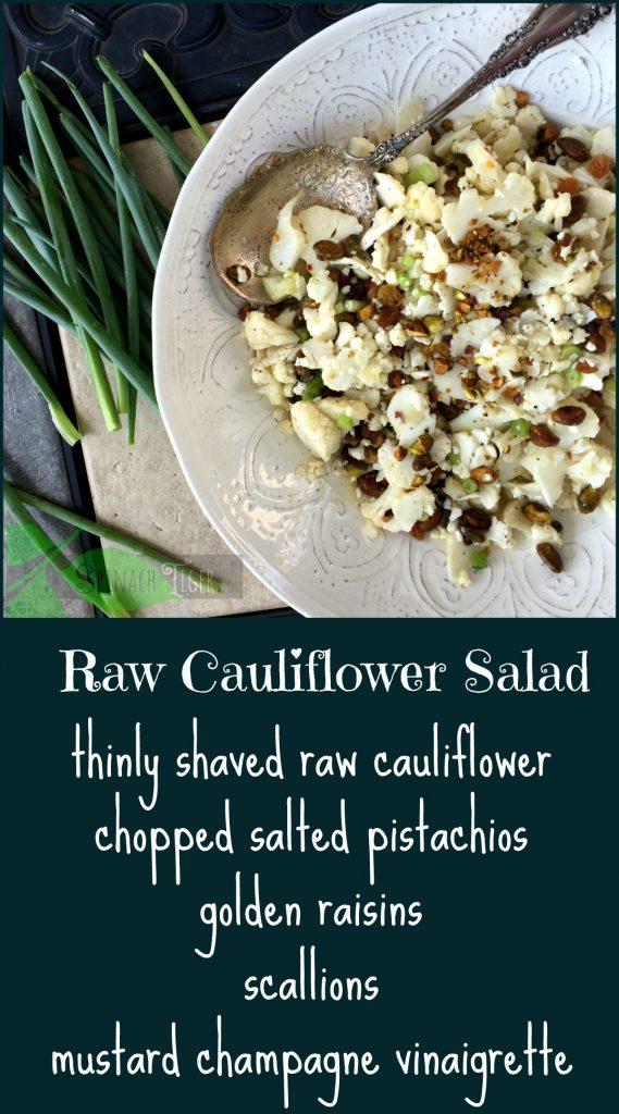Raw Cauliflower Salad with Raisins and PIstachios