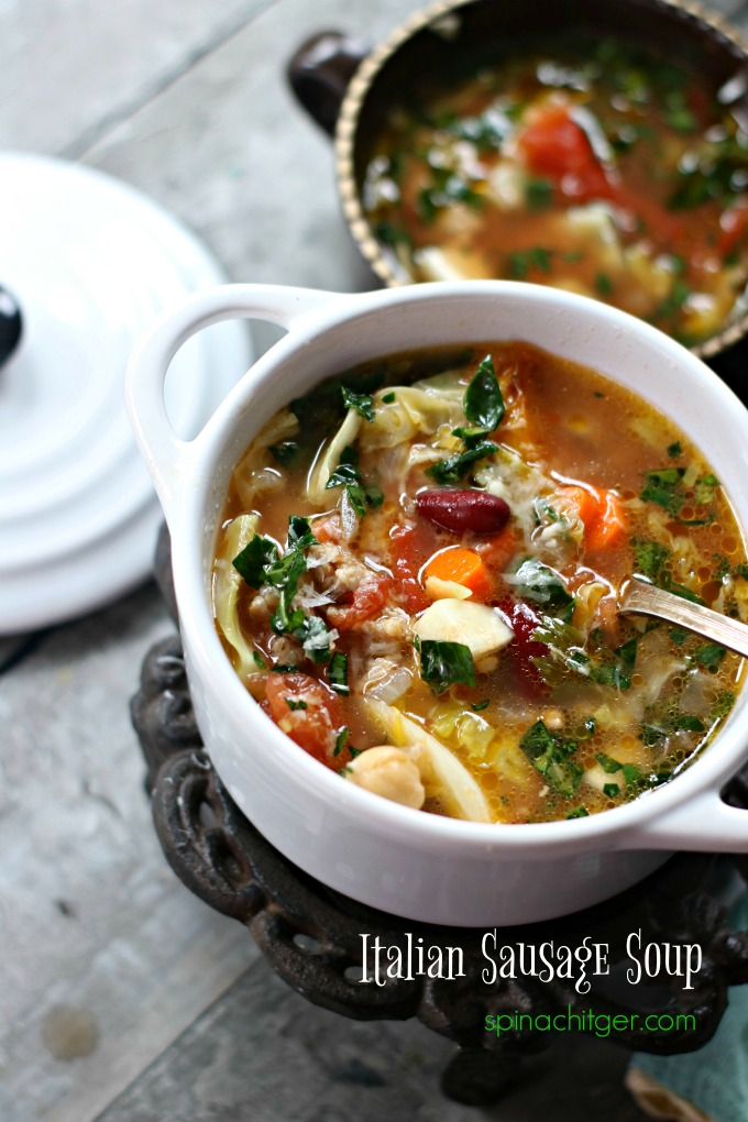 Start with a homemade broth or use good organic broth, make it spicy and belly warming. #sausagesoup #Italiansausagerecipe #ketosouprecipe #spinachtiger via @angelaroberts