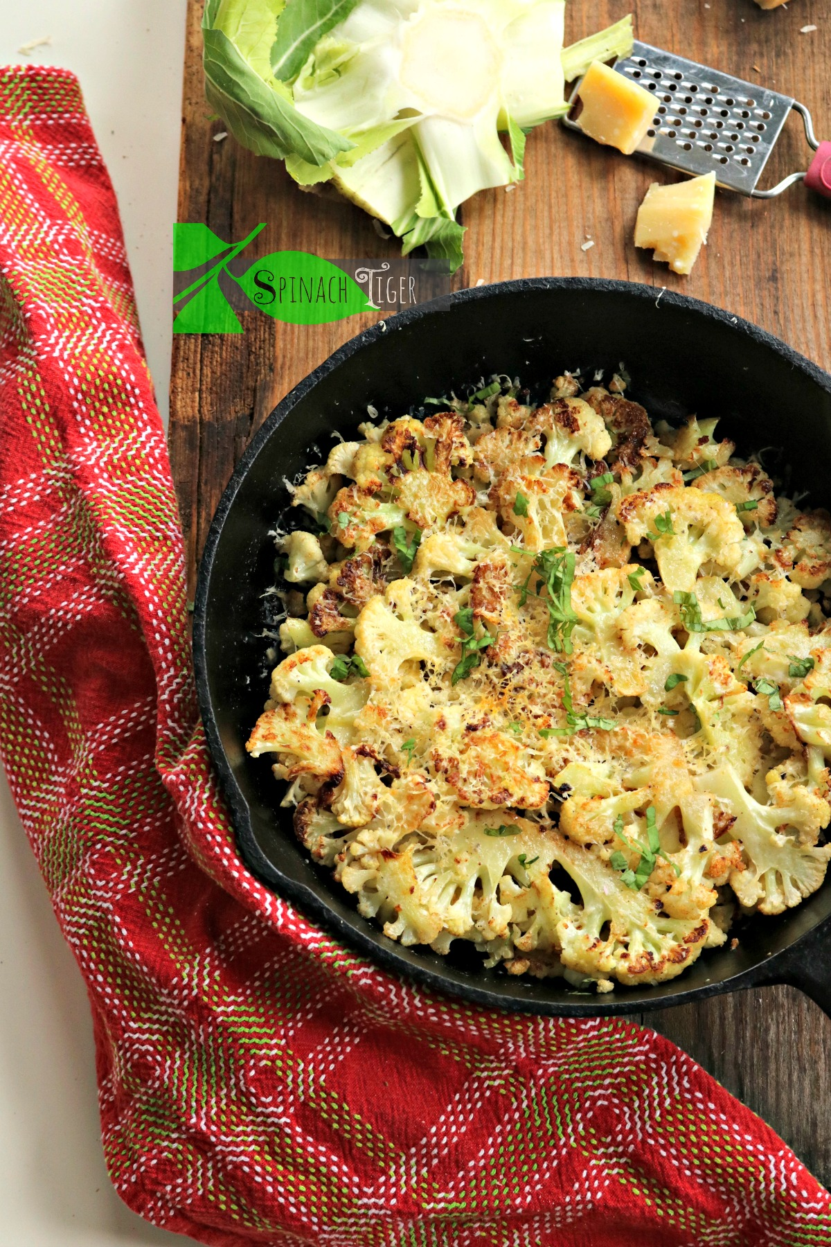Oven Roasted Cauliflower Recipe with Butter and Parmesan from Spinach Tiger