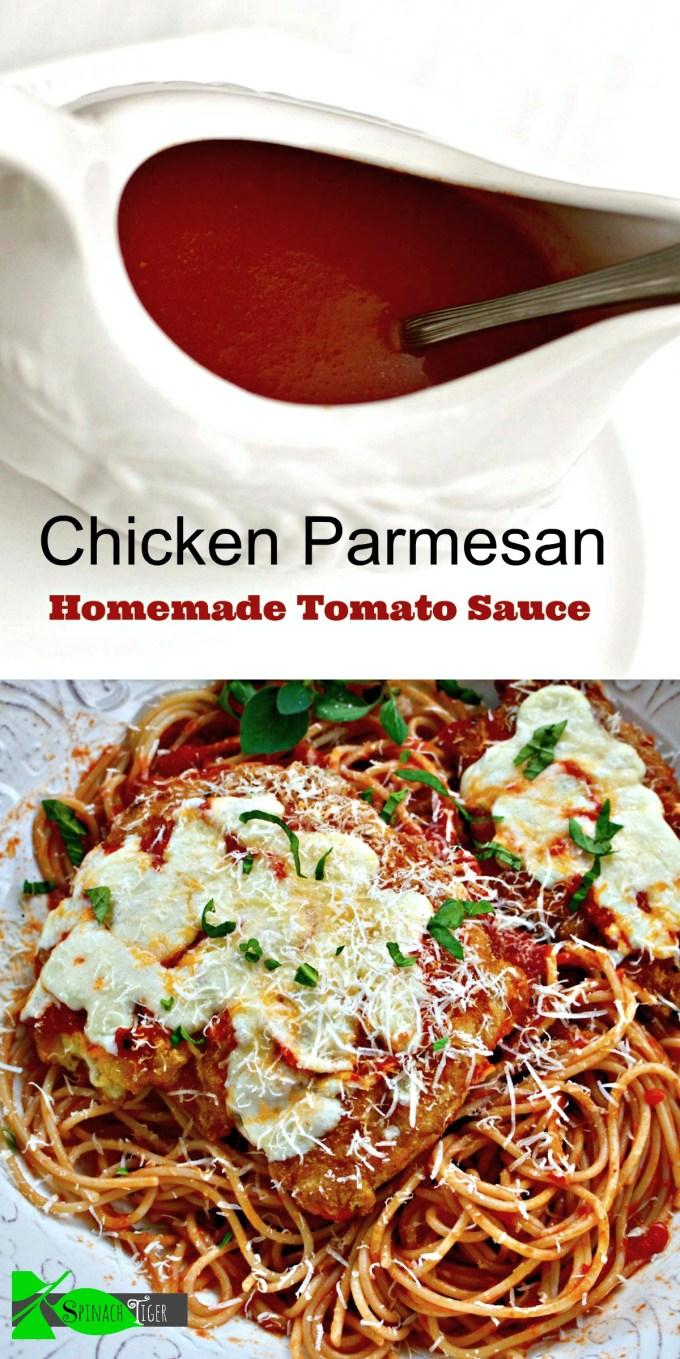 Homemade Tomato Sauce with Gluten Free Chicken Parmesan