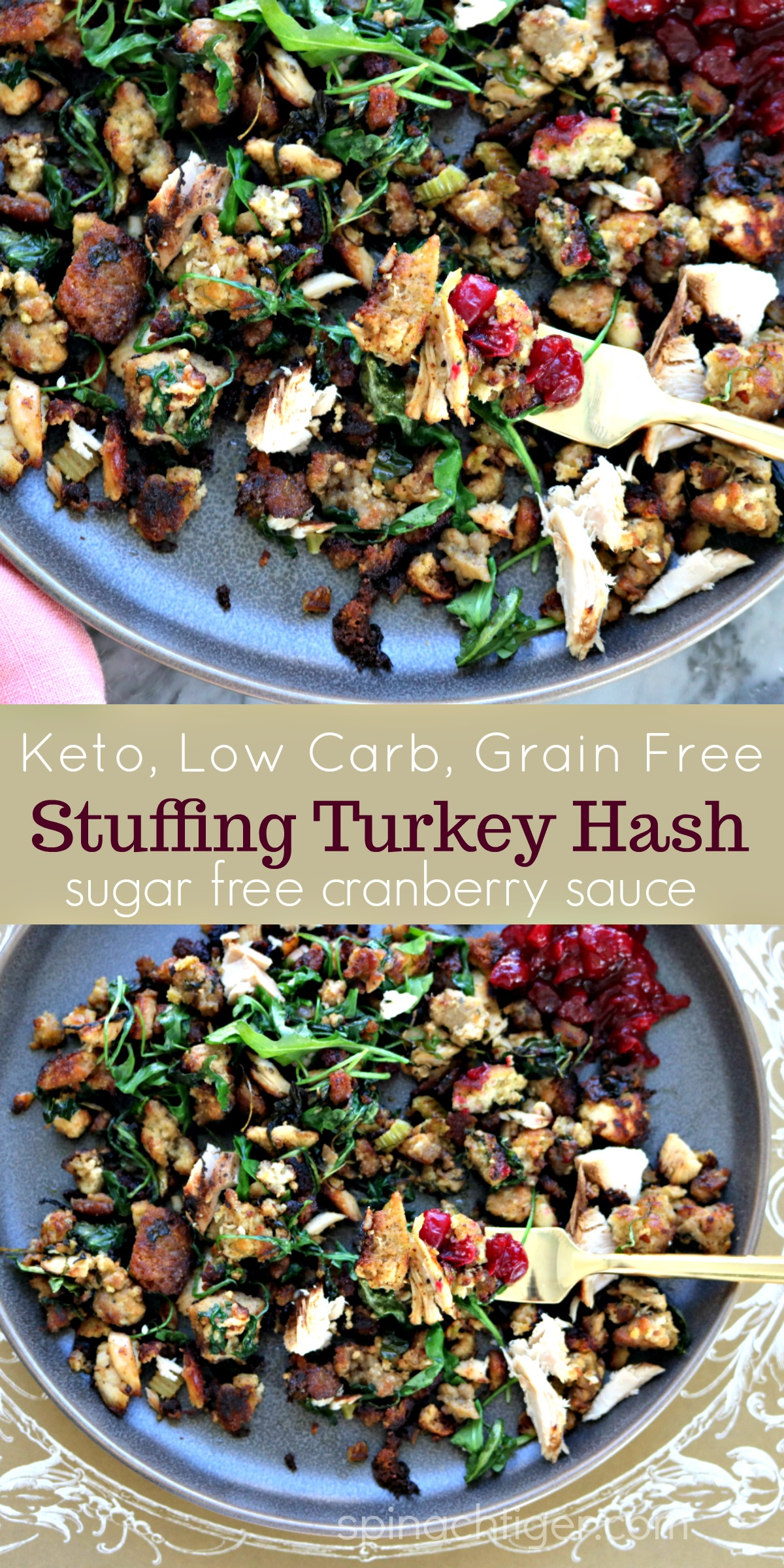 Keto Stuffing Hash from Thanksgiving Leftovers by Spinach Tiger