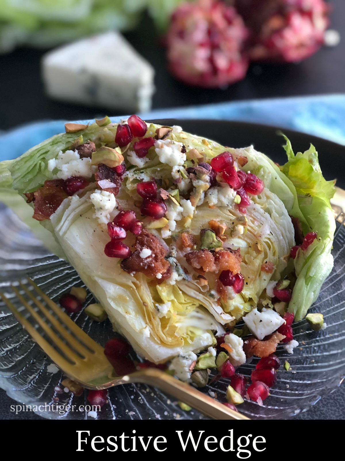 Wedge Salad with Blue Cheese Vinaigrette from Spinach Tiger
