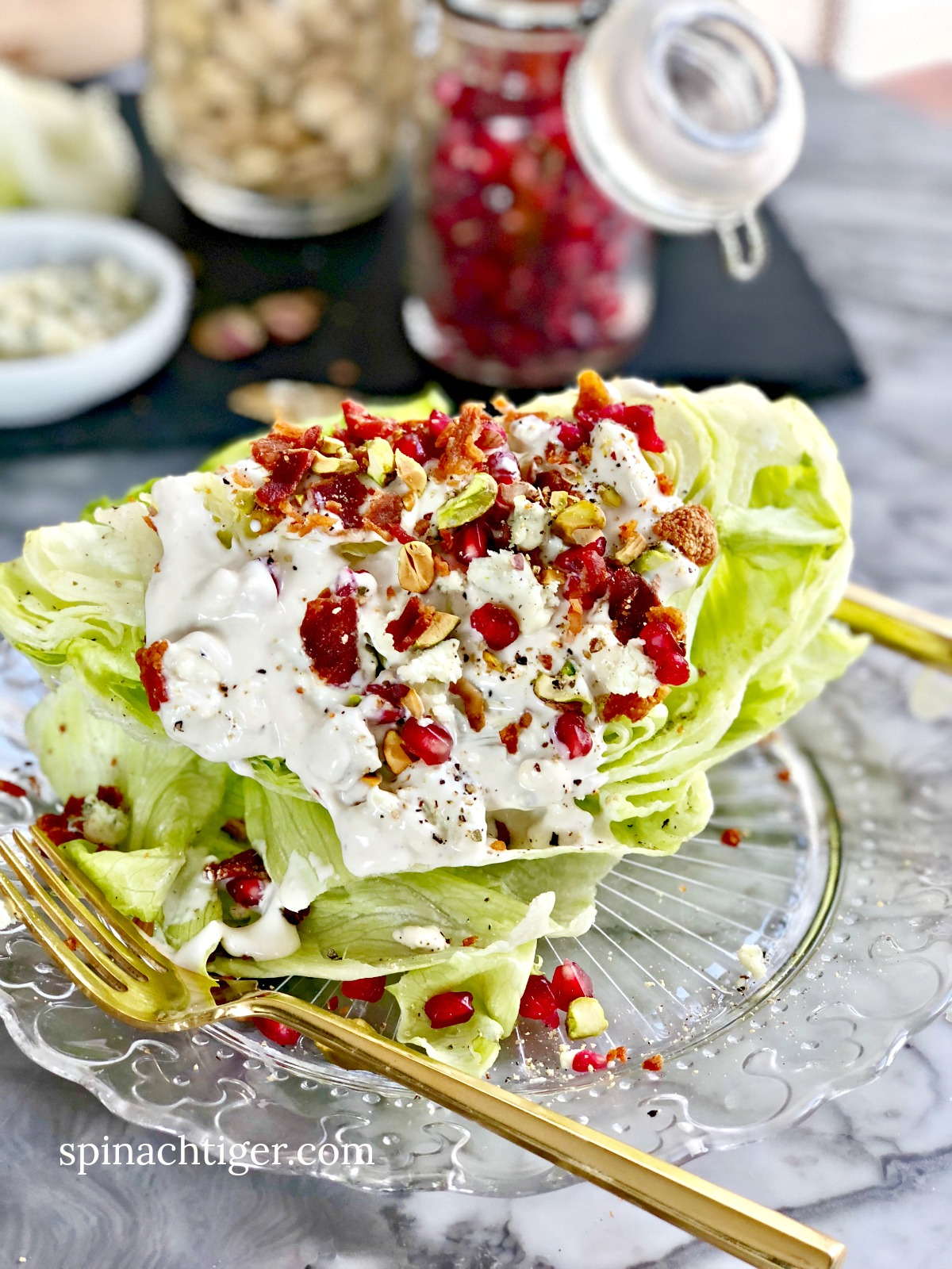 Wedge Salad with blue cheese dressing from Spinach Tiger