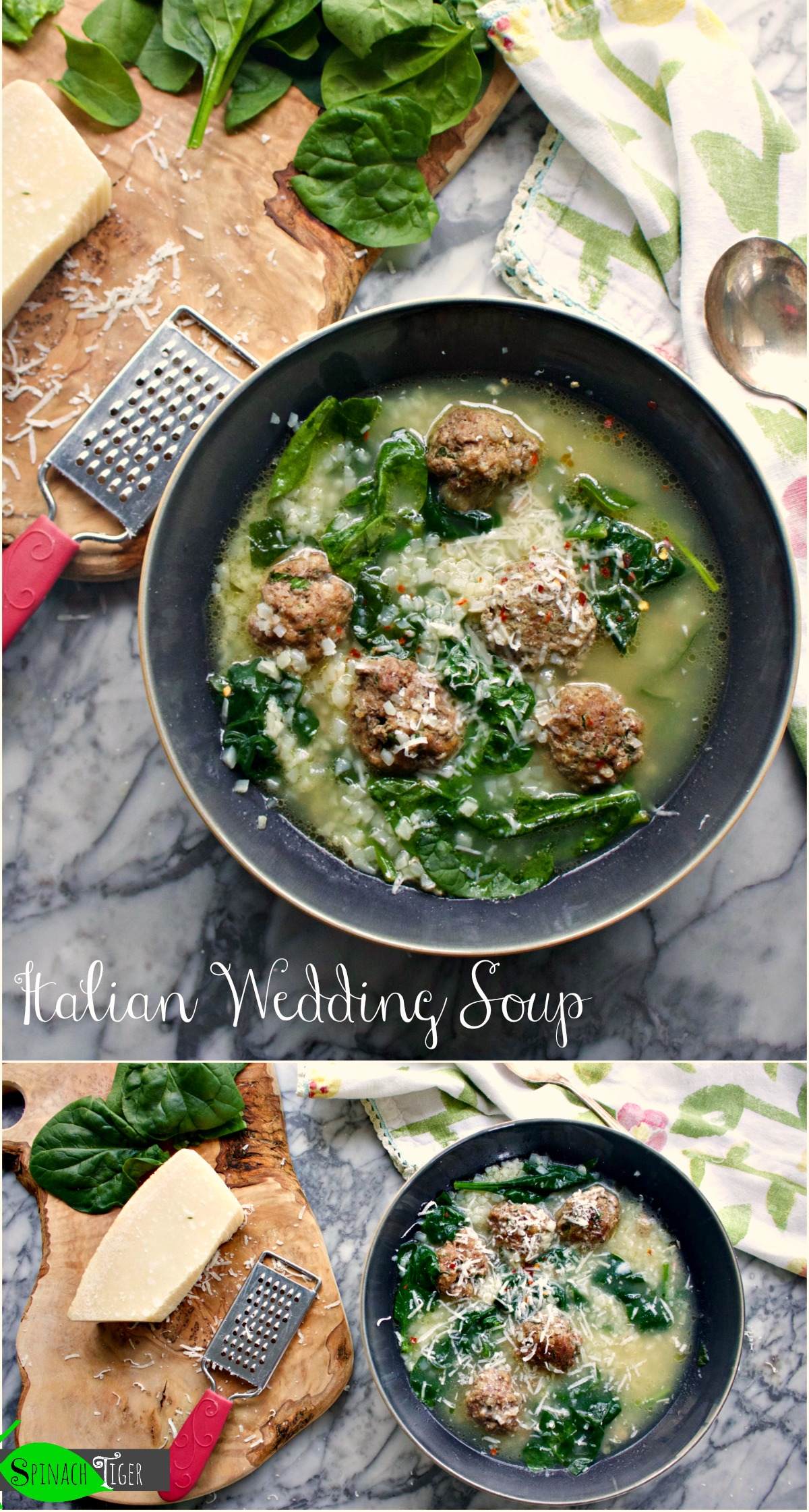 Make Keto Italian Wedding Soup Recipe with Low Carb option from Spinach Tiger