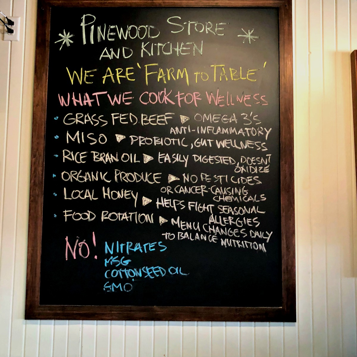 Organic Ingredients at Pinewood Kitchen and Mercantile from Spinach Tiger