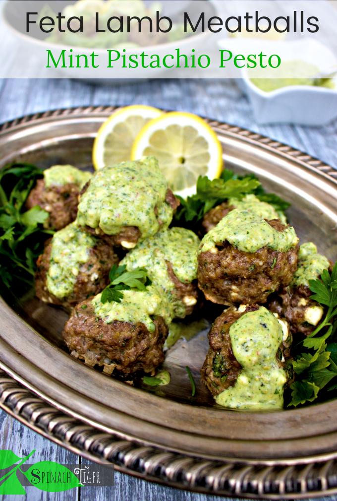 Greek Feta lamb Meatballs with Mint Pistachio Pesto #keto #grainfree #lamb #greek