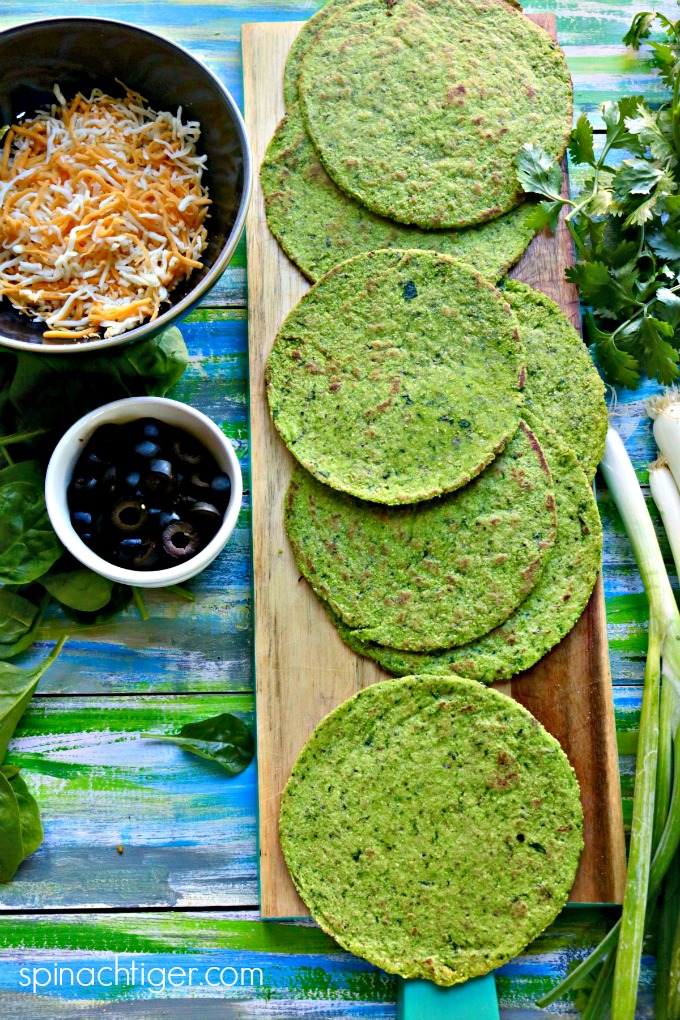 Green tortillas for Keto Green Chicken Enchiladas from Spinach Tiger