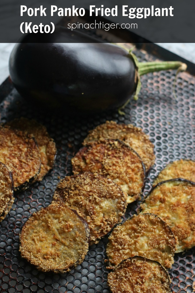 Fried Eggplant, keto and paleo friendly made with pork panko, or processed pork rinds. #ketoeggplant #paleo #glutenfree #spinachtiger #ketoItalian via @angelaroberts