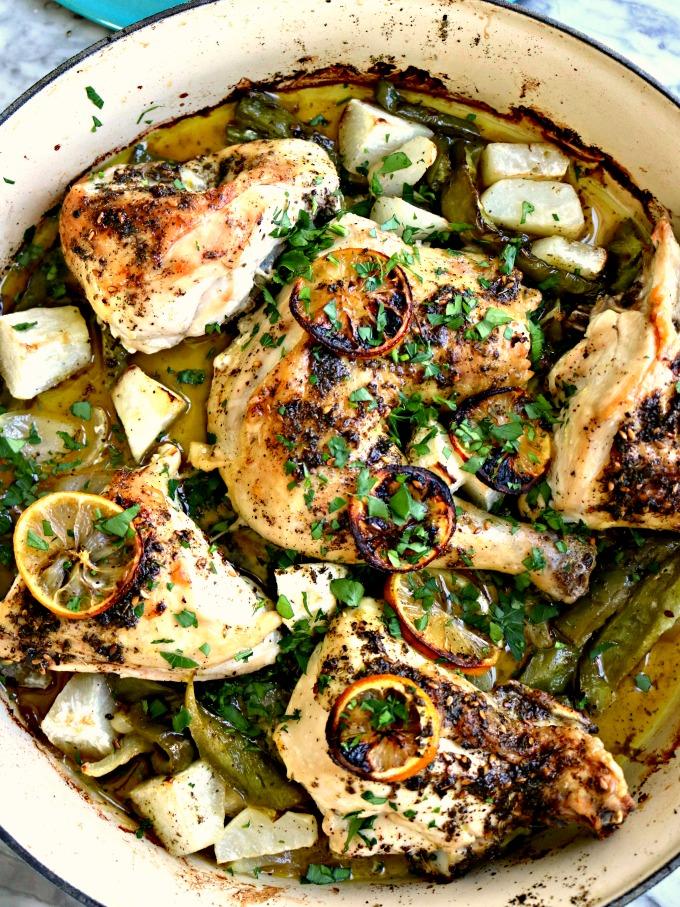 Za'atar Chicken with Charred Lemon, Roasted Turnips (Keto)