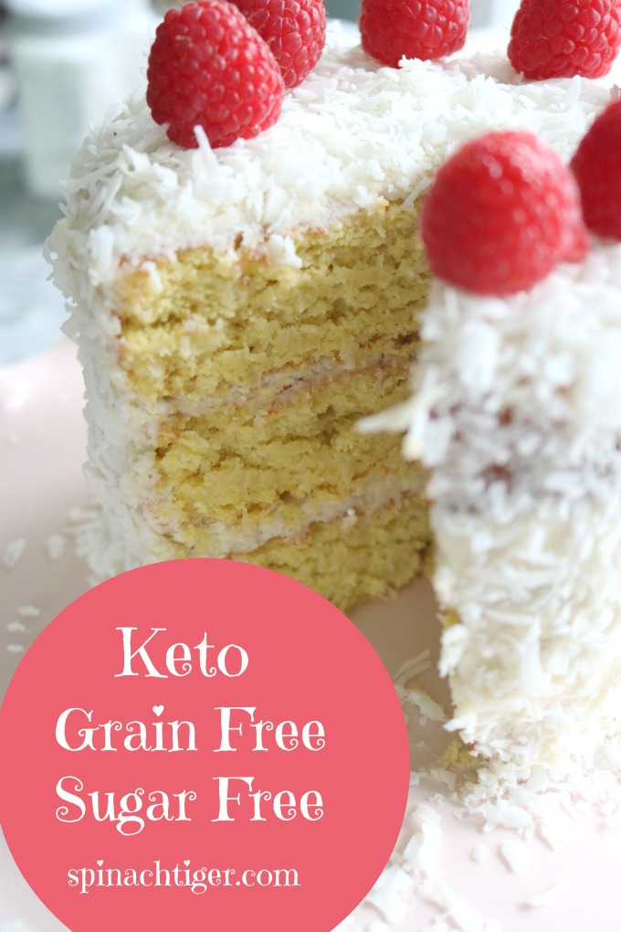 Keto Friendly Coconut Cake made into triple layer six inch cake, double layer cake or cupcakes. Made with coconut flour only, coconut cream, and unsweetened coconut. #coconutcake #ketococonutcake. #spinachtiger #cake #coconut via @angelaroberts